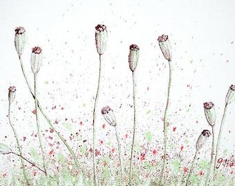 "Flower painting 8x12"" A4 Watercolor Nature art Mint green red poppy art Floral art Poppies Original art Wall decor Minimalist A4 size"