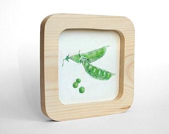 "Food art 6x6"" Peas still life Green peas painting art wood Kitchen art Green art green still life Small art Small still life Minimalist art"