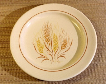 Set of 2 Vintage Ironstone Autumn Glory Dinner Plates by Anchor Hocking, Wheat Design