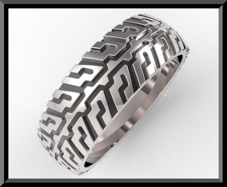 Tire Tread Mens Wedding Band In 925 Sterling By Vidarjewelry
