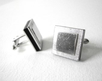 Vintage Swank Silver Square Cufflinks With Black Trim