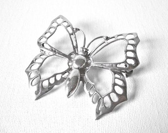Vintage Sterling Silver Butterfly Brooch With Open Work Wings