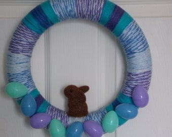 """12"""" Purple and Blue Easter Yarn Wreath With Mini Easter Eggs and Brown Bunny"""