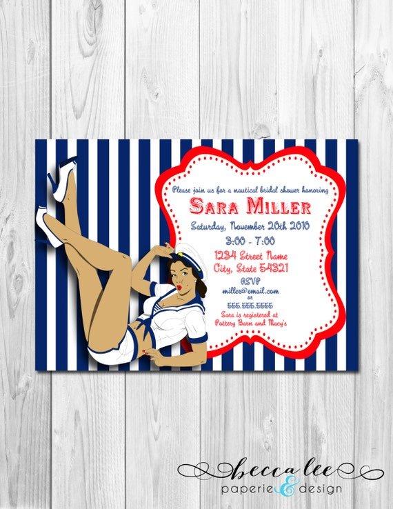 Pin Up Girl Nautical Theme Bridal Shower Invitation - DIY - Printable