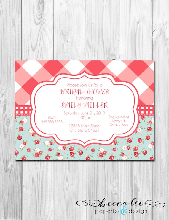 Chic Bridal Shower, Baby Shower, Birthday Invitation - Floral Picnic ...