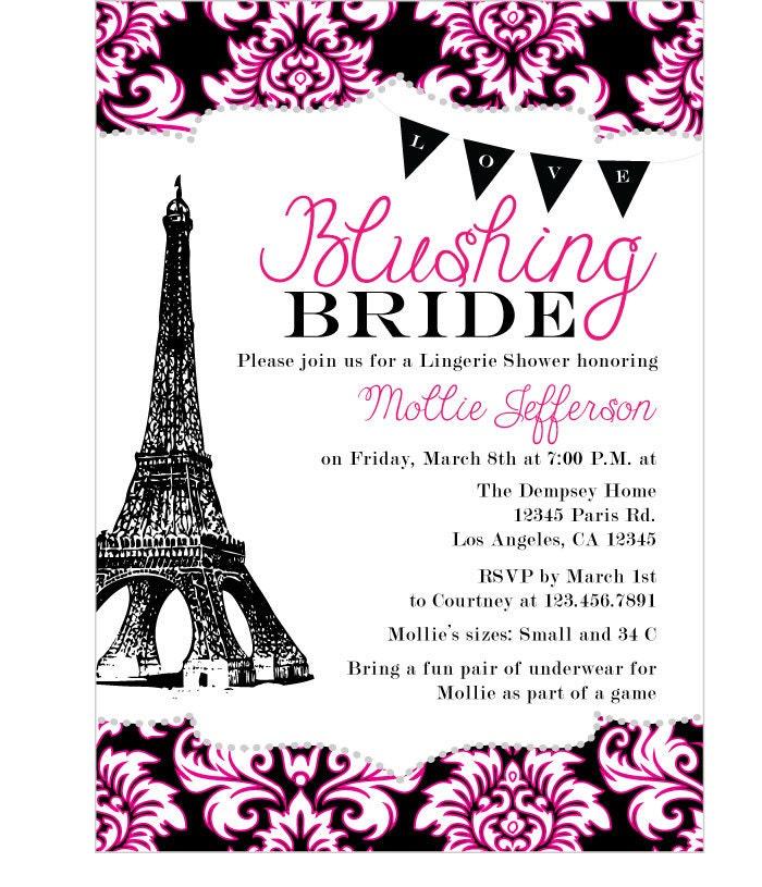 Items similar to ooh la la paris bridal shower printable for Paris themed invitations bridal shower