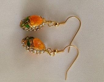 Gold Flower Cloissone Bead Earrings