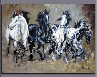 original painting,hand oil painting,impasto,hand painted oil on canvas,framed,ready to hang,huge 30''x40''  animals painting horses OR11