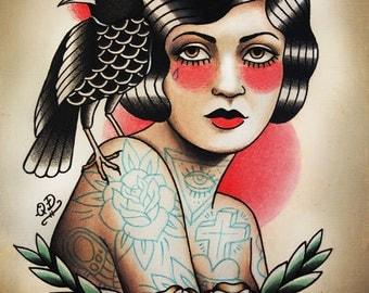 Flapper and Raven Tattoo Art Print