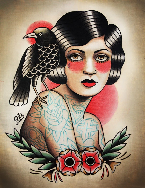 flapper and raven tattoo art print. Black Bedroom Furniture Sets. Home Design Ideas