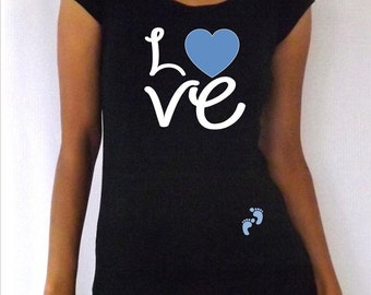 "Funny,cute, maternity Shirt ""Love"" with footprints  with footprints, maternity clothes"