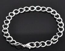 120pcs 20cm Silver Plated Lobster Clasp Chain Bracelets