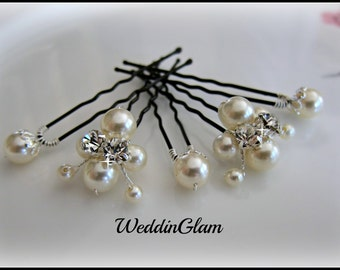 White Ivory Pearl Clip, Bridal Hair Pins, Wedding Hair Accessories, Swarovski Pearl Wedding Hair clips, Set of 5 Hair Pin, Floral Hair Pins