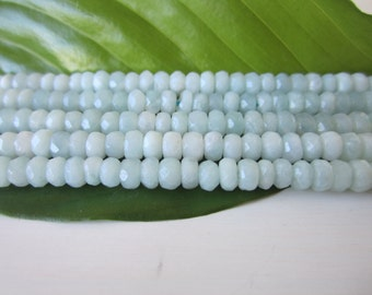 """Natural Amazonite Gemstone Beads - Faceted Rondelles 2x4mm - Full Strand - 16"""""""