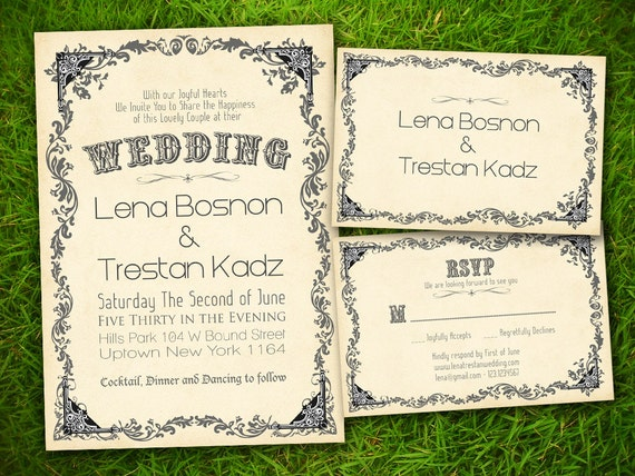 Wedding Invitation and RSVP Card Suite - Vintage Classic Baroque Customizable Double Sided Print