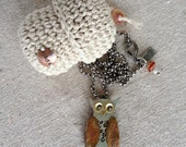 Owl Necklace in Sterling Silver Hand-Made (reserved)