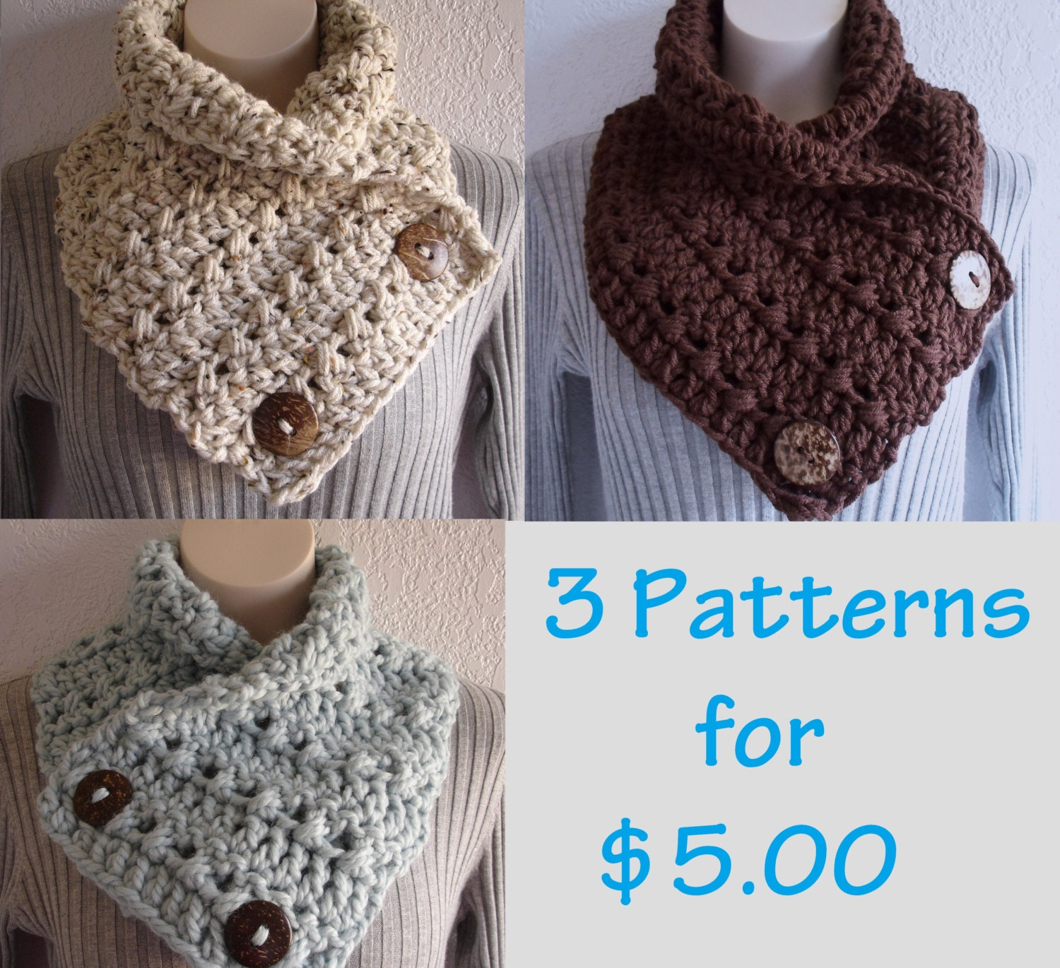 Crochet chunky crochet cowl neckwarmer scarf with buttons zoom bankloansurffo Choice Image