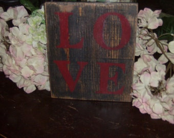 Rustic LOVE sign/home decor/valentines day