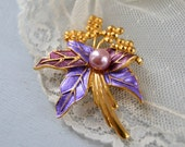 Vintage Purple and Gold Flower Brooch - Costume Pin
