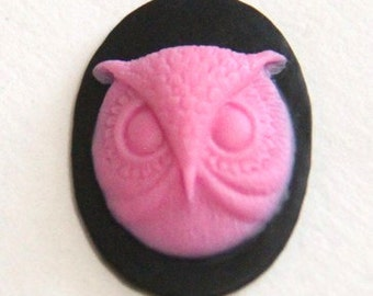6 pcs of resin owl cameo-18x25mm-rc0172-1-pink on black