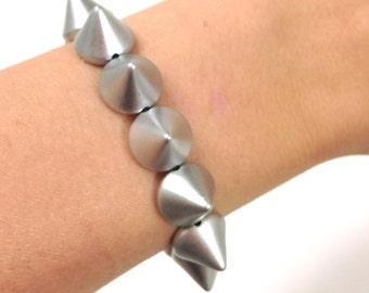 SALE! Matte Silver Spike Studded Bracelet