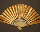 Golden Fan - Original Chinese Paper Fan Art - For the Goodness of the World - Everyday Object Art - Zen Art