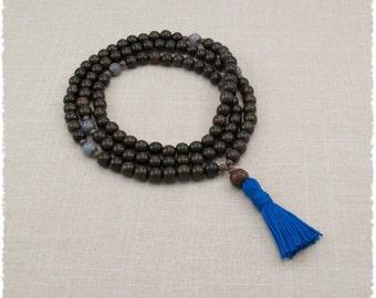 Ebony Mala with Blue Aventurine - Buddhist Prayer Beads - Meditation Necklace - Item # 905