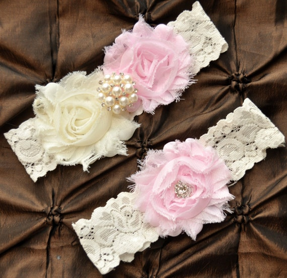 Wedding Garter, Bridal Garter Set - Ivory Lace Garter, Keepsake Garter, Toss Garter, Shabby Chiffon Rosette Ivory Light Pink Wedding Garter