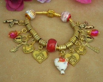 Mother's Day, Gift for Her! European bracelet charms in gold t. & red color. swarosvki CRYSTAL, cupid angel, HEART.
