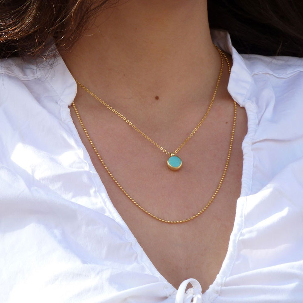 turquoise necklace december birthstone double necklace. Black Bedroom Furniture Sets. Home Design Ideas