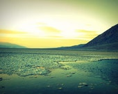 Bad Water - Landscape Photograph in Yellow, Green, Blue, Dreamy, Glow, Death Valley, Home Decor