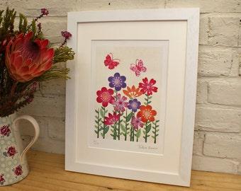 Flowers & Butterflies - Unframed limited edition print