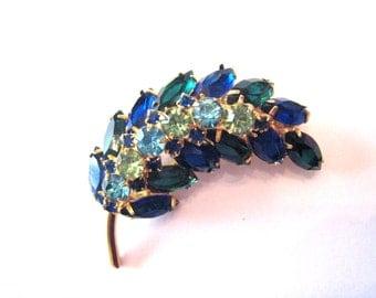 Gorgeous Vintage D & E Juliana Cobalt Blue Aqua Green Leaf Brooch/Pin Large Doom Shape VintageWedding Vintage Bride Designer Jewelry 1960's