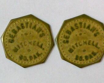 "Lot of 2 Vintage Antique Advertising Trade Tokens ""Sebastian's"" Mitchell SD 10c Octagons"