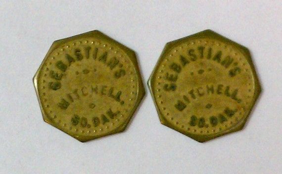 "Lot of 2 Vintage Antique Advertising Trade Tokens ""Sebastian's"" Mitchell SD 10c Octagons"
