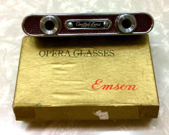 ON HOLD for Shirls Mod Red Vintage Emson Compact Folding Spy Opera Glasses Made in Japan with Original Box