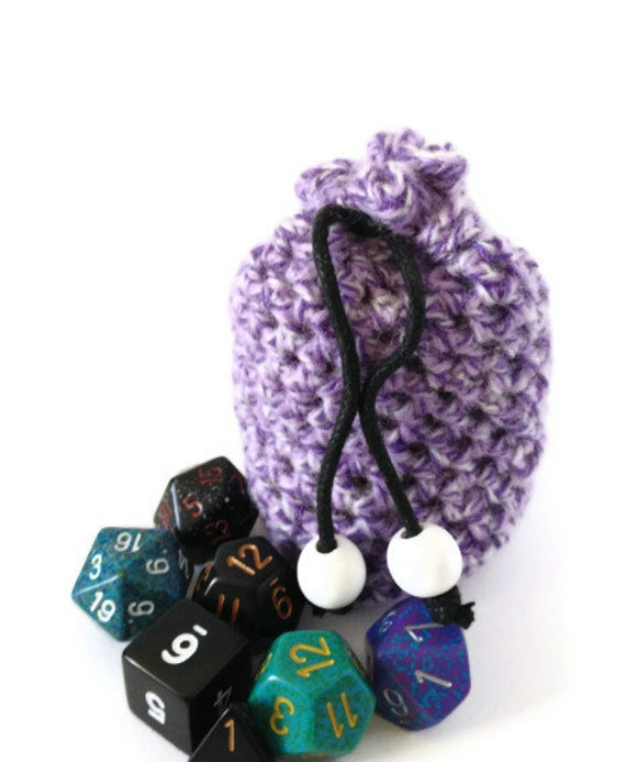 Purple Dice Bag, Small Knit Coin Purse, Crochet Drawstring Pouch, White Dice Bag, Bag of Holding, Girls Dice Bag, Purple White Pouch