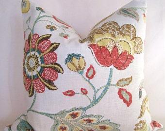 Decorator Pillow Cover - Robert Allen - Floral -18x18 20x20 - Orange - Green - Yellow - Turquoise - Cream