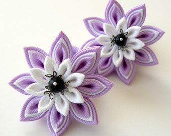 Kanzashi fabric flowers. Set of 2 ponytails . Orchid and white.