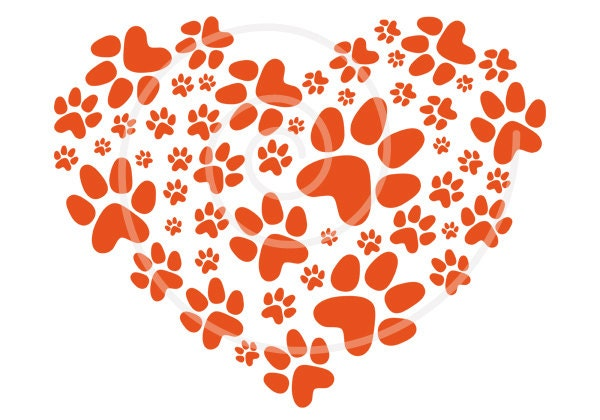 Paws print heart pet cat dog clipart digital clip-art by Illustree