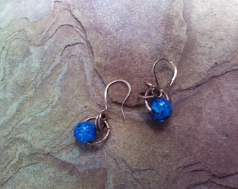 SALE...Copper and Swirled Cobalt Blue Glass Earrings