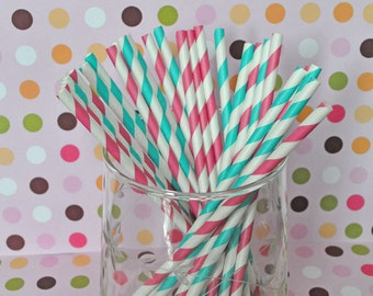 Hot Pink and Aqua Striped Paper Straws Party Straws and Coordinating DIY Straw Flag PDF