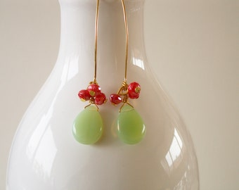 Mint and coral dangles