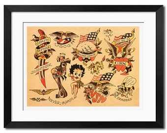 Sailor Jerry Old School Vintage Tattoo Flash Poster Print