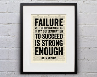If My Determination To Succeed Is Strong Enough Og Mandino - Inspirational Quote Dictionary Page Book Art Print - DPQU045