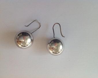 Vintage sterling silver dangling orb earrings