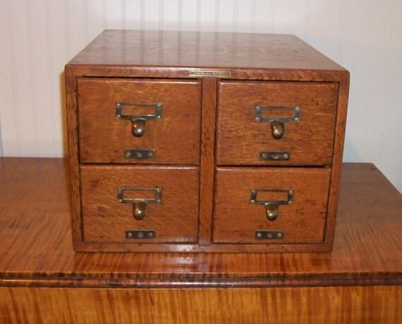 antique oak library bureau sole makers card catalog index file. Black Bedroom Furniture Sets. Home Design Ideas