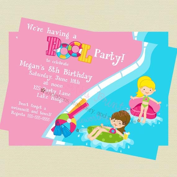 Girls Pool Party Invitation Pool Party Birthday Invitation – Pool Party Invitations Printable