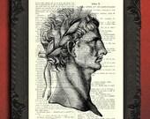 Roman empire print, roman emperor with laurel wreath, Claudius art print