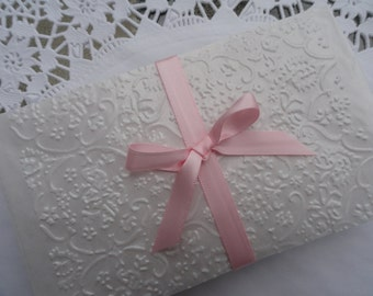 French Lace Glassine Gift Envelopes Embossed Set of 10